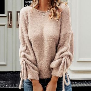 Sweaters - Fuzzy Feels Ruched sleeve Sweater